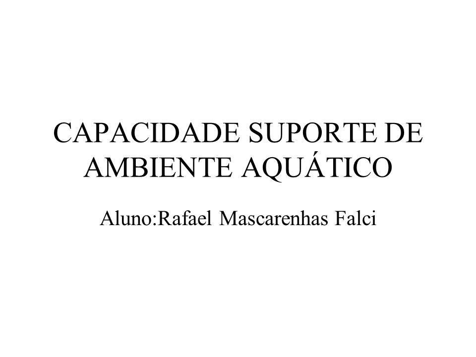 CAPACIDADE SUPORTE DE AMBIENTE AQUÁTICO Aluno:Rafael Mascarenhas Falci