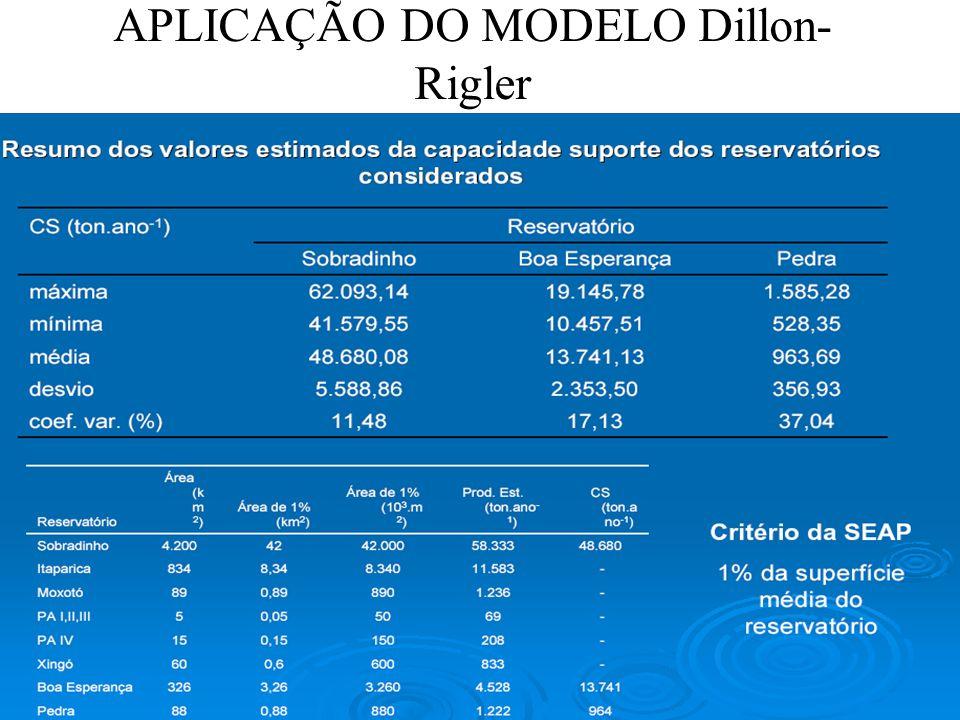 APLICAÇÃO DO MODELO Dillon- Rigler