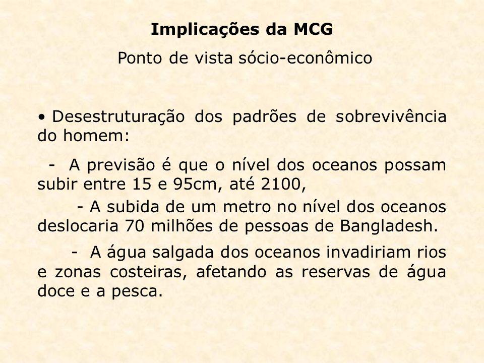 Implicações da MCG Ponto de vista sócio-econômico Desestruturação dos padrões de sobrevivência do homem: - A previsão é que o nível dos oceanos possam