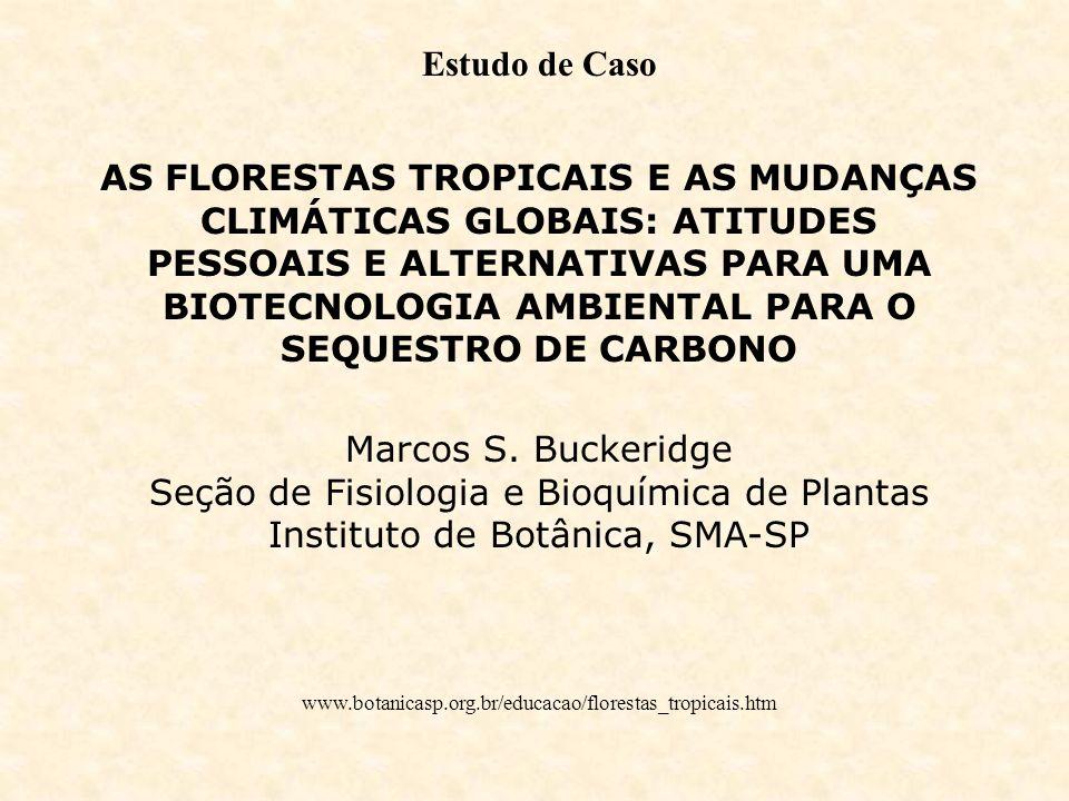 Estudo de Caso AS FLORESTAS TROPICAIS E AS MUDANÇAS CLIMÁTICAS GLOBAIS: ATITUDES PESSOAIS E ALTERNATIVAS PARA UMA BIOTECNOLOGIA AMBIENTAL PARA O SEQUE
