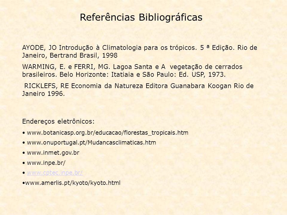 Referências Bibliográficas AYODE, JO Introdução à Climatologia para os trópicos. 5 ª Edição. Rio de Janeiro, Bertrand Brasil, 1998 WARMING, E. e FERRI