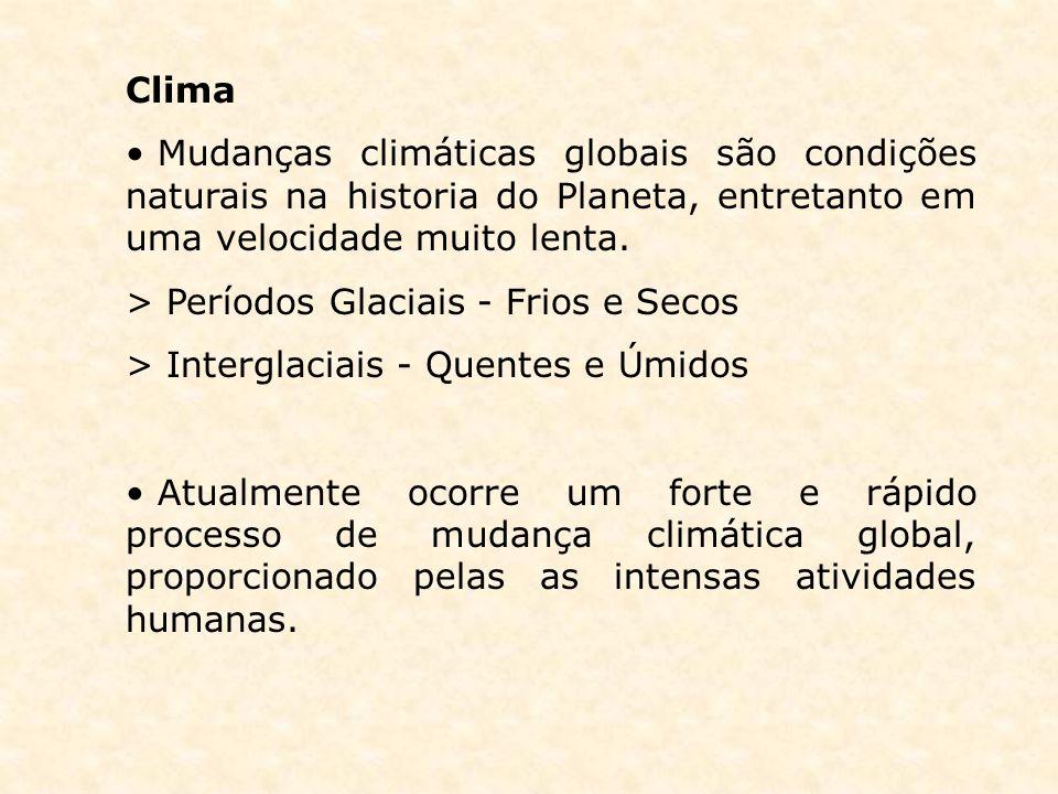 Clima Mudanças climáticas globais são condições naturais na historia do Planeta, entretanto em uma velocidade muito lenta. > Períodos Glaciais - Frios