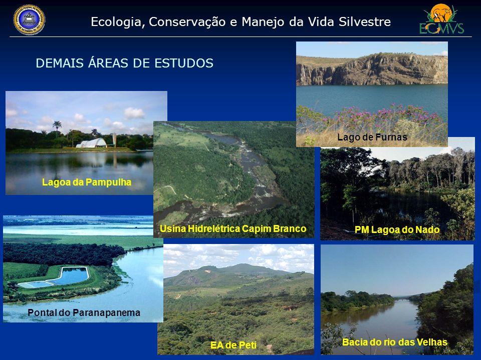 Ecologia, Conservação e Manejo da Vida Silvestre DEMAIS ÁREAS DE ESTUDOS EA de Peti Bacia do rio das Velhas PM Lagoa do Nado Lagoa da Pampulha Pontal
