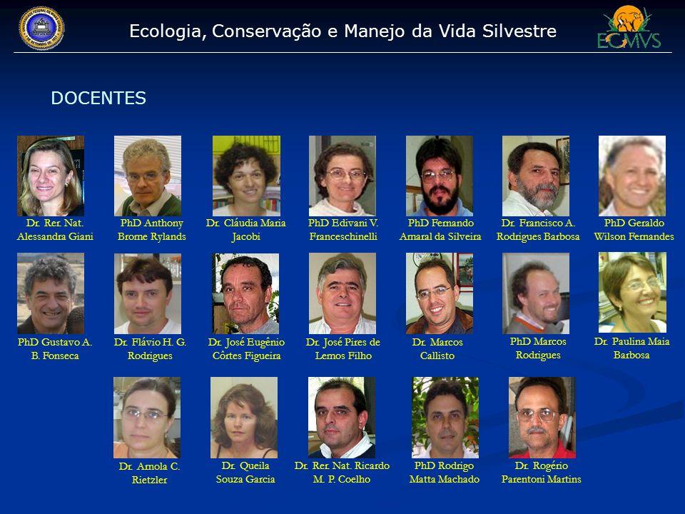 Ecologia, Conservação e Manejo da Vida Silvestre DOCENTES Dr. Rer. Nat. Alessandra Giani PhD Anthony Brome Rylands Dr. Cláudia Maria Jacobi PhD Edivan