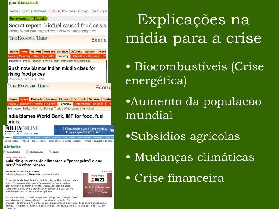 Explicações na mídia para a crise Biocombustíveis (Crise energética) Aumento da população mundial Subsídios agrícolas Mudanças climáticas Crise financ