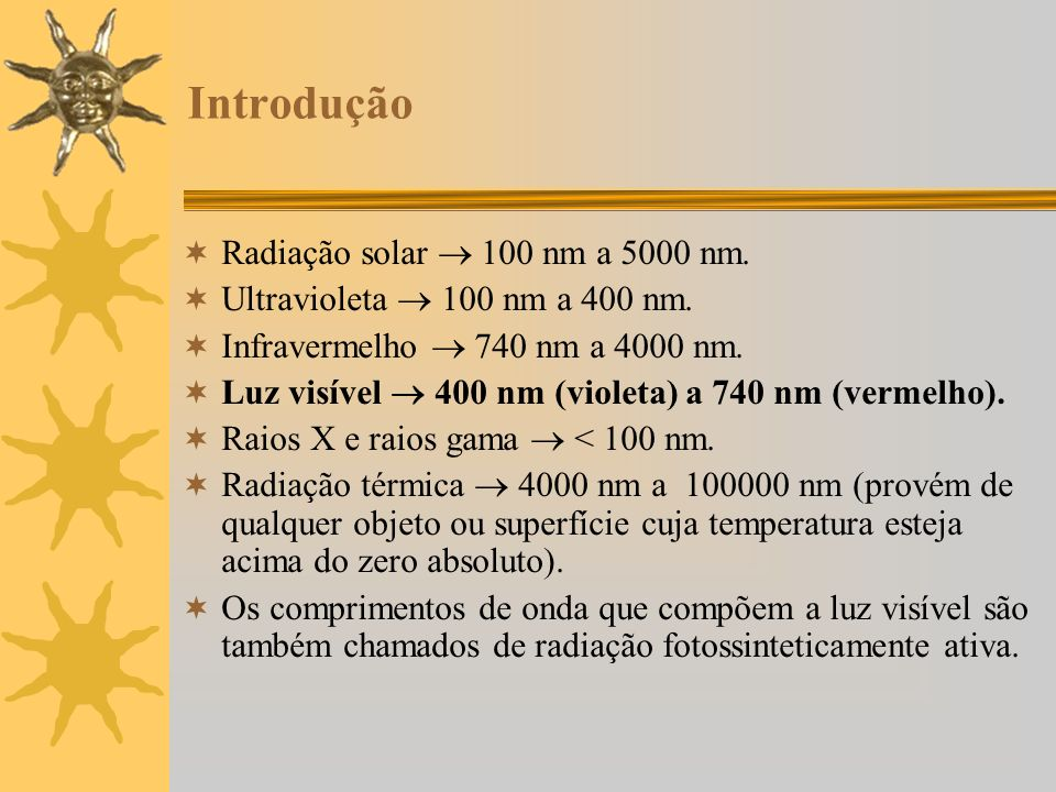 Introdução Radiação solar 100 nm a 5000 nm. Ultravioleta 100 nm a 400 nm. Infravermelho 740 nm a 4000 nm. Luz visível 400 nm (violeta) a 740 nm (verme