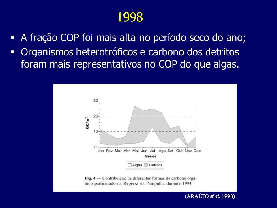 A fração COP foi mais alta no período seco do ano; Organismos heterotróficos e carbono dos detritos foram mais representativos no COP do que algas. (A