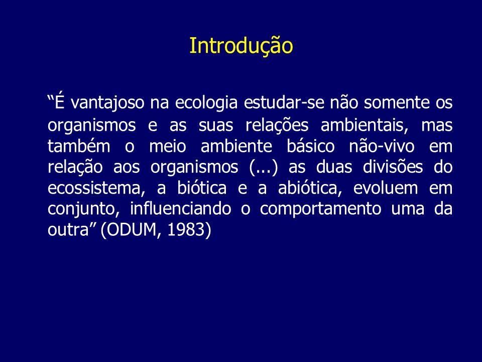 Introdução É vantajoso na ecologia estudar-se não somente os organismos e as suas relações ambientais, mas também o meio ambiente básico não-vivo em r