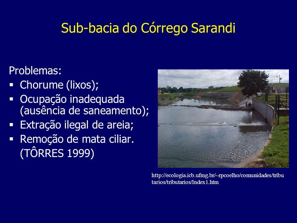 Sub-bacia do Córrego Sarandi Problemas: Chorume (lixos); Ocupação inadequada (ausência de saneamento); Extração ilegal de areia; Remoção de mata cilia