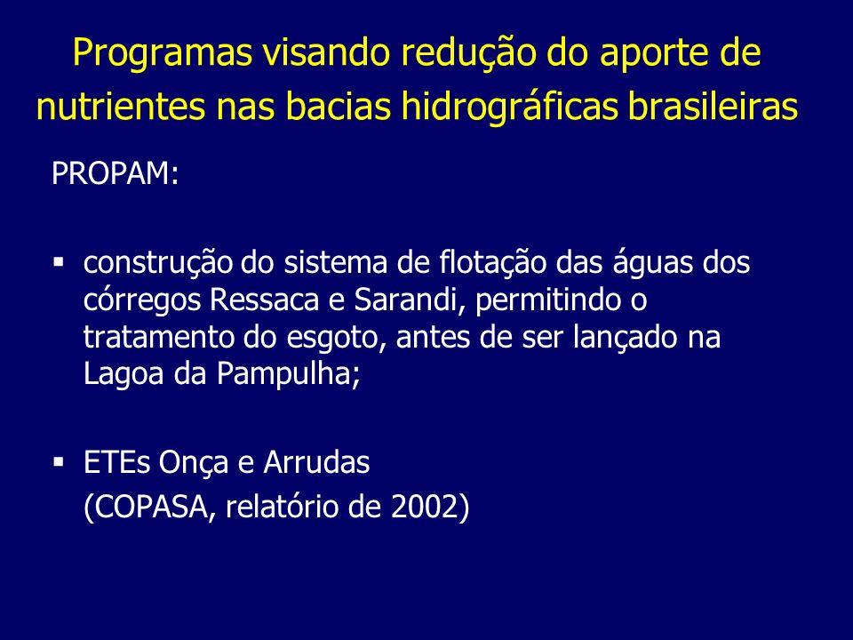 Programas visando redução do aporte de nutrientes nas bacias hidrográficas brasileiras PROPAM: construção do sistema de flotação das águas dos córrego