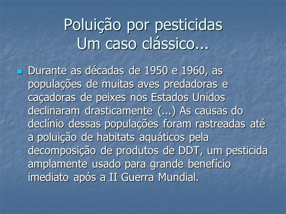 Poluição por pesticidas Um caso clássico... Durante as décadas de 1950 e 1960, as populações de muitas aves predadoras e caçadoras de peixes nos Estad