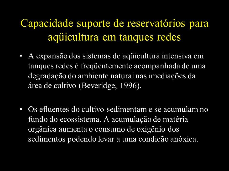 Capacidade suporte de reservatórios para aqüicultura em tanques redes A expansão dos sistemas de aqüicultura intensiva em tanques redes é freqüentemen