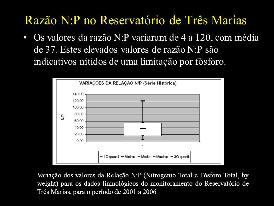 Razão N:P no Reservatório de Três Marias Os valores da razão N:P variaram de 4 a 120, com média de 37. Estes elevados valores de razão N:P são indicat