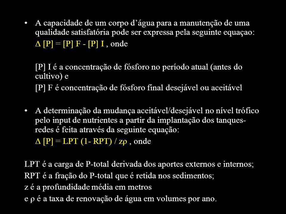 A capacidade de um corpo dágua para a manutenção de uma qualidade satisfatória pode ser expressa pela seguinte equaçao: Δ [P] = [P] F - [P] I, onde [P