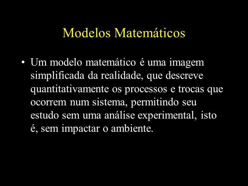 Modelos Matemáticos Um modelo matemático é uma imagem simplificada da realidade, que descreve quantitativamente os processos e trocas que ocorrem num