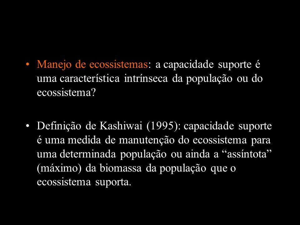 Manejo de ecossistemas: a capacidade suporte é uma característica intrínseca da população ou do ecossistema? Definição de Kashiwai (1995): capacidade