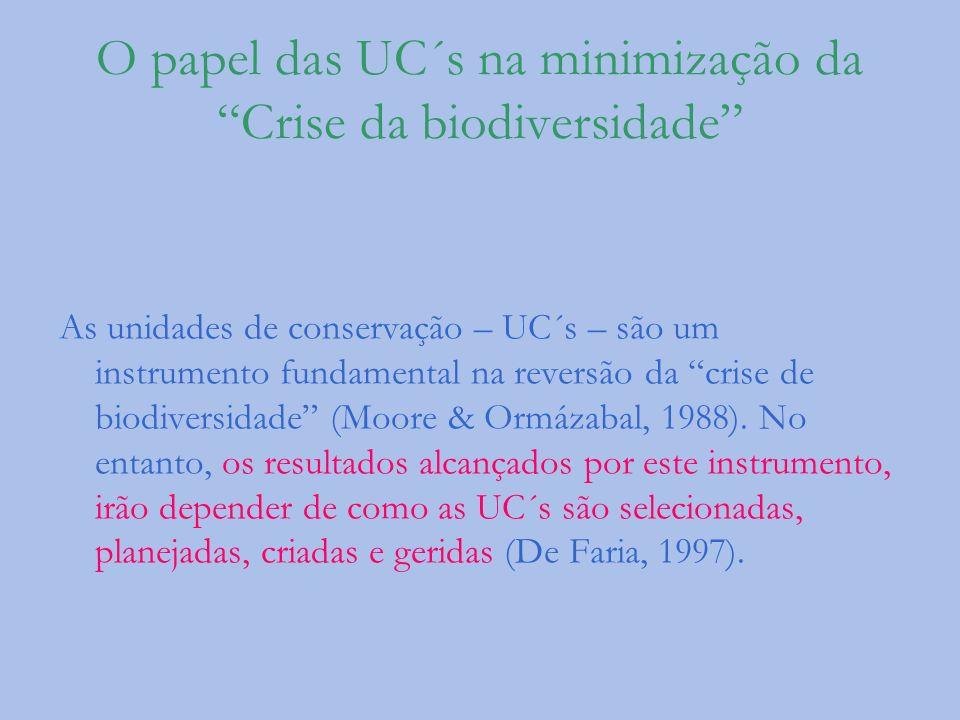O papel das UC´s na minimização da Crise da biodiversidade As unidades de conservação – UC´s – são um instrumento fundamental na reversão da crise de
