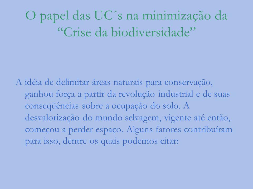 O papel das UC´s na minimização da Crise da biodiversidade A idéia de delimitar áreas naturais para conservação, ganhou força a partir da revolução in