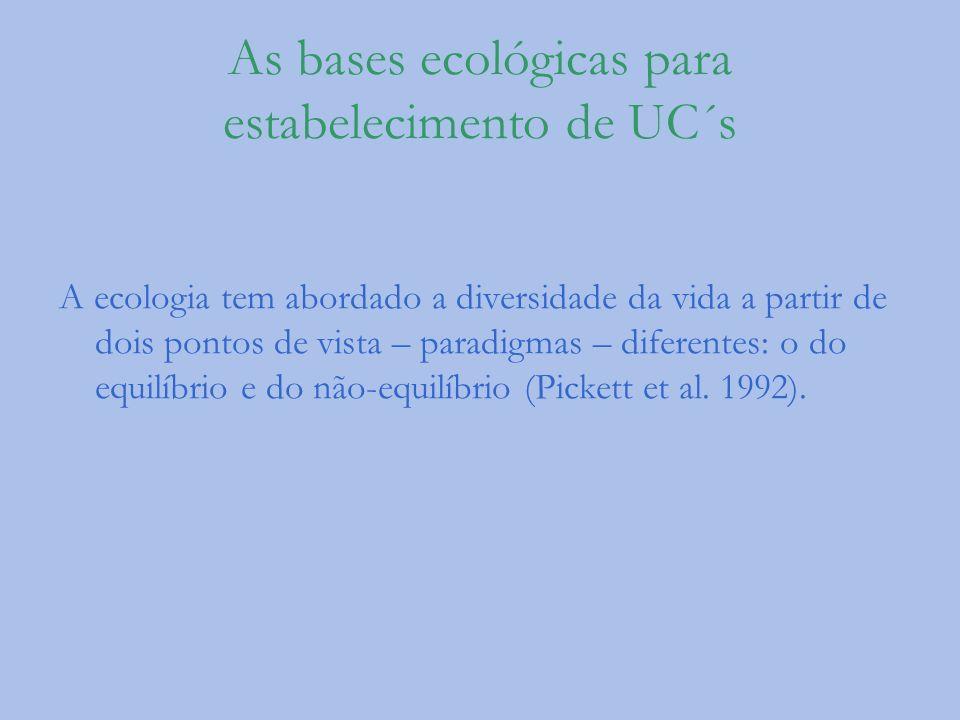 As bases ecológicas para estabelecimento de UC´s A ecologia tem abordado a diversidade da vida a partir de dois pontos de vista – paradigmas – diferen