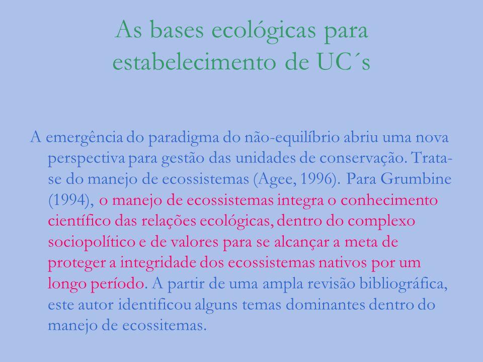 As bases ecológicas para estabelecimento de UC´s A emergência do paradigma do não-equilíbrio abriu uma nova perspectiva para gestão das unidades de co