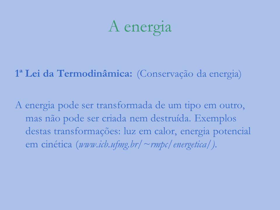 A energia 1ª Lei da Termodinâmica: (Conservação da energia) A energia pode ser transformada de um tipo em outro, mas não pode ser criada nem destruída