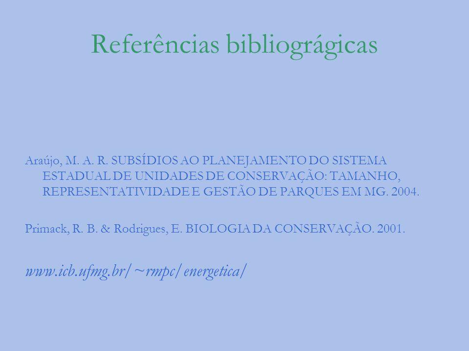 Referências bibliográgicas Araújo, M. A. R. SUBSÍDIOS AO PLANEJAMENTO DO SISTEMA ESTADUAL DE UNIDADES DE CONSERVAÇÃO: TAMANHO, REPRESENTATIVIDADE E GE
