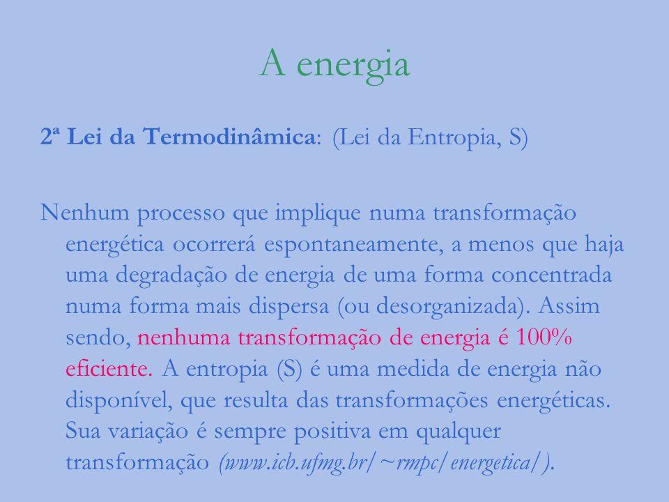 A energia 2ª Lei da Termodinâmica: (Lei da Entropia, S) Nenhum processo que implique numa transformação energética ocorrerá espontaneamente, a menos q