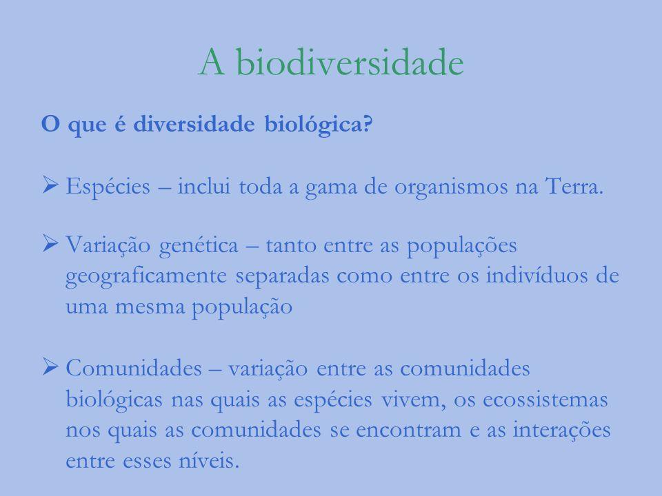 A biodiversidade O que é diversidade biológica? Espécies – inclui toda a gama de organismos na Terra. Variação genética – tanto entre as populações ge