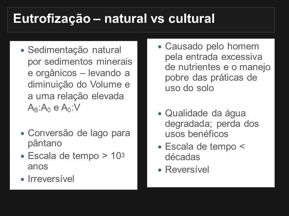 Eutrofização – natural vs cultural Sedimentação natural por sedimentos minerais e orgânicos – levando a diminuição do Volume e a uma relação elevada A