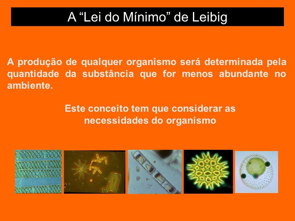 A Lei do Mínimo de Leibig A produção de qualquer organismo será determinada pela quantidade da substância que for menos abundante no ambiente.
