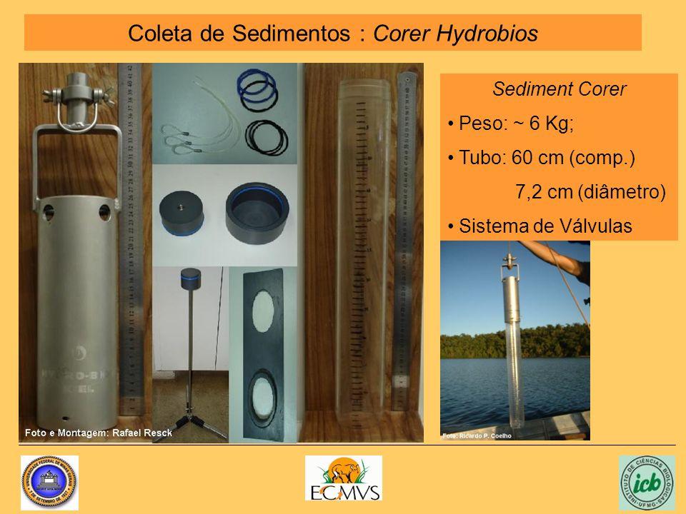 Coleta de Sedimentos : Corer Hydrobios Sediment Corer Peso: ~ 6 Kg; Tubo: 60 cm (comp.) 7,2 cm (diâmetro) Sistema de Válvulas