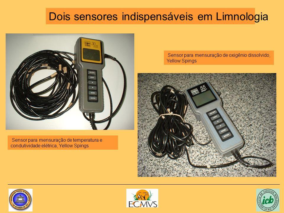 Dois sensores indispensáveis em Limnologia Sensor para mensuração de temperatura e condutividade elétrica, Yellow Spings Sensor para mensuração de oxi