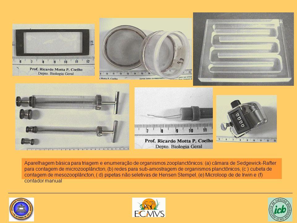 Aparelhagem básica para triagem e enumeração de organismos zooplanctônicos: (a) câmara de Sedgewick-Rafter para contagem de microzooplâncton, (b) rede