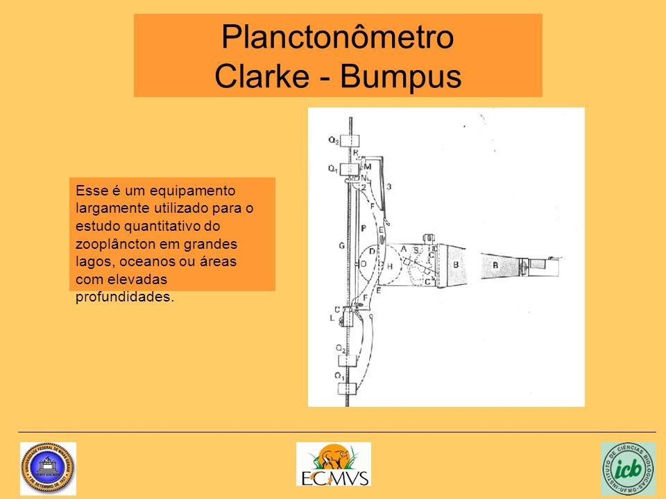 Planctonômetro Clarke - Bumpus Esse é um equipamento largamente utilizado para o estudo quantitativo do zooplâncton em grandes lagos, oceanos ou áreas