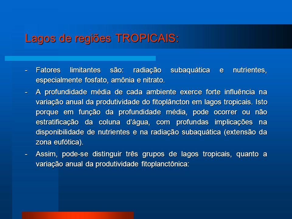 Lagos de regiões TROPICAIS: -Fatores limitantes são: radiação subaquática e nutrientes, especialmente fosfato, amônia e nitrato. -A profundidade média