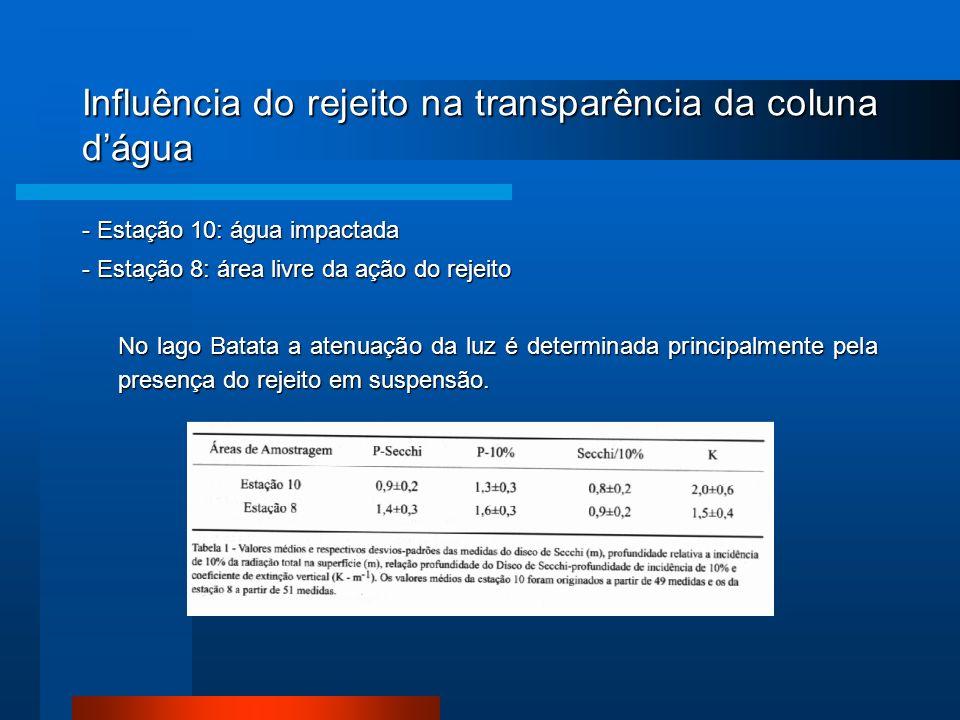 Influência do rejeito na transparência da coluna dágua - Estação 10: água impactada - Estação 8: área livre da ação do rejeito No lago Batata a atenua