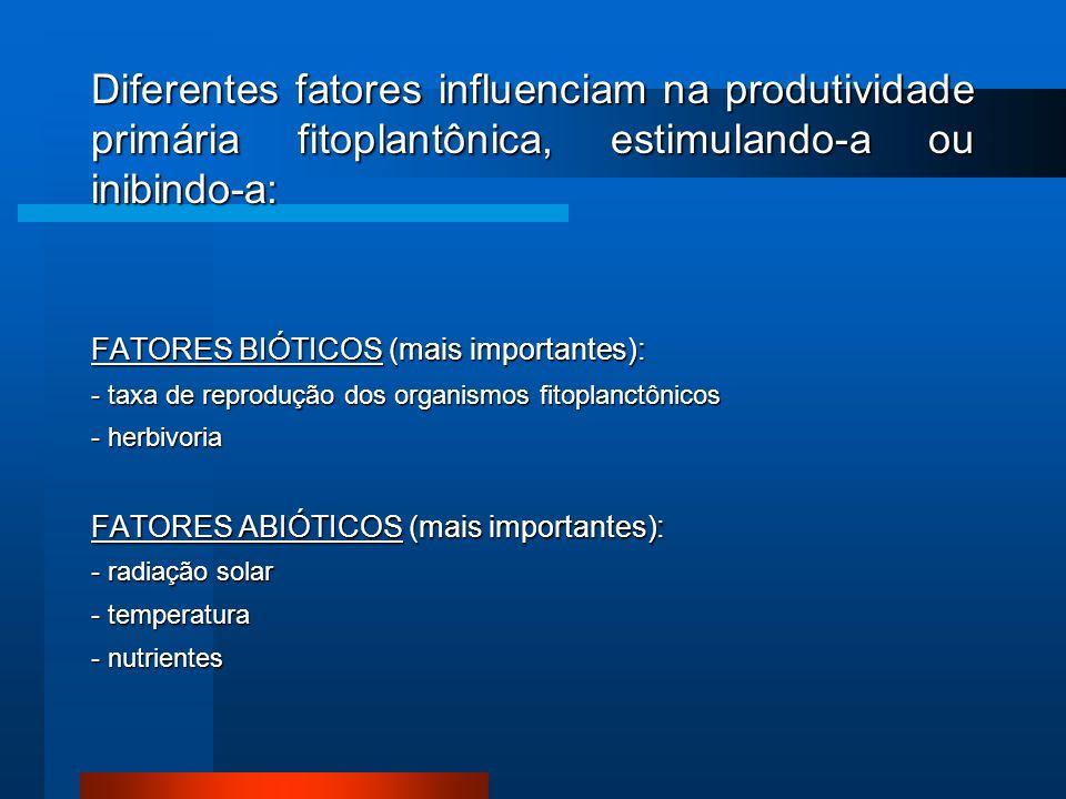Diferentes fatores influenciam na produtividade primária fitoplantônica, estimulando-a ou inibindo-a: FATORES BIÓTICOS (mais importantes): - taxa de r