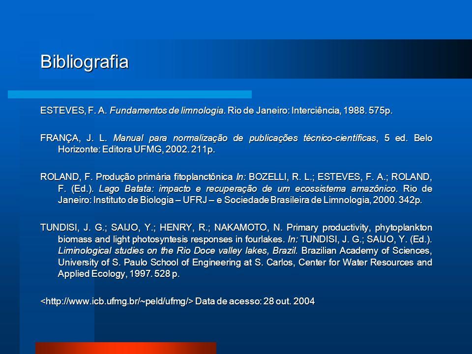 Bibliografia ESTEVES, F. A. Fundamentos de limnologia. Rio de Janeiro: Interciência, 1988. 575p. FRANÇA, J. L. Manual para normalização de publicações