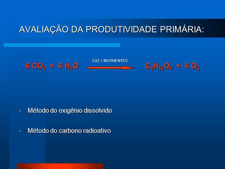 AVALIAÇÃO DA PRODUTIVIDADE PRIMÁRIA: 6 CO 2 + 6 H 2 O C 6 H 12 O 6 + 6 O 2 -Método do oxigênio dissolvido -Método do carbono radioativo LUZ + NUTRIENT