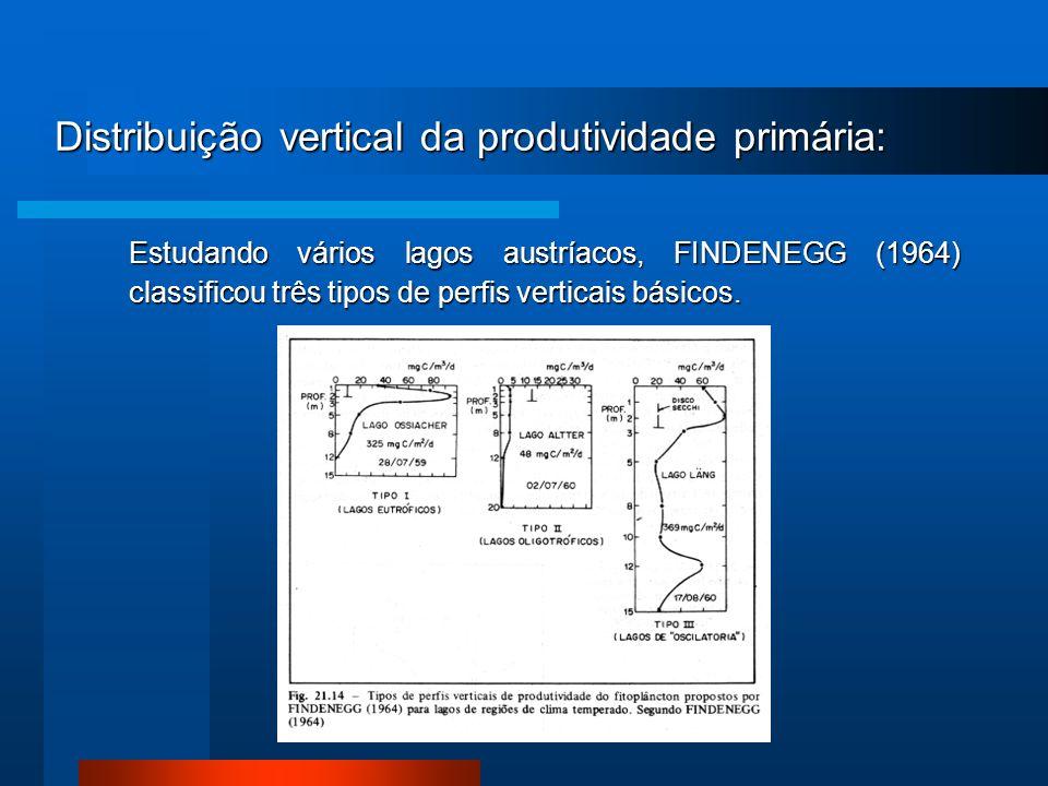 Distribuição vertical da produtividade primária: Estudando vários lagos austríacos, FINDENEGG (1964) classificou três tipos de perfis verticais básico
