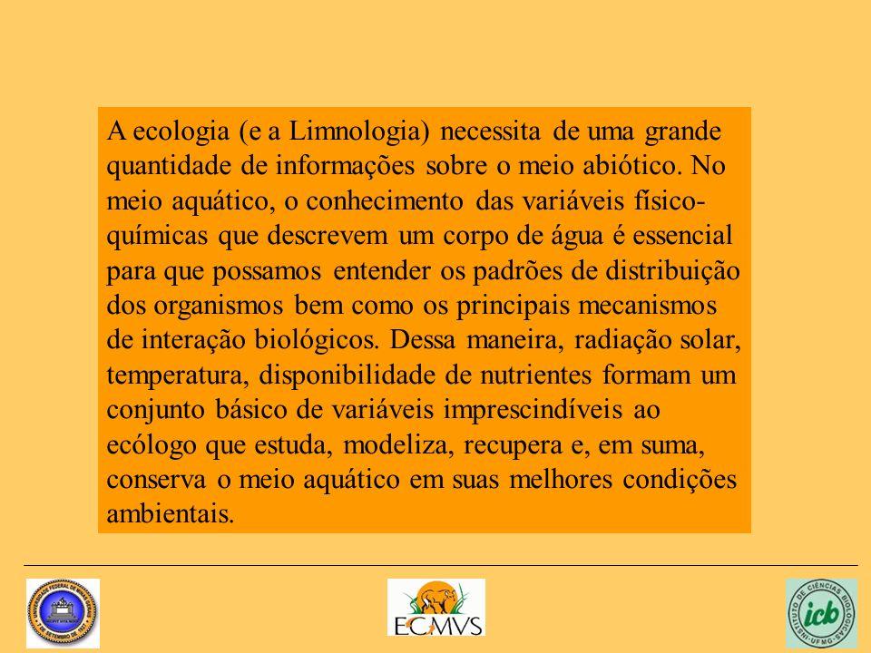 A ecologia (e a Limnologia) necessita de uma grande quantidade de informações sobre o meio abiótico.