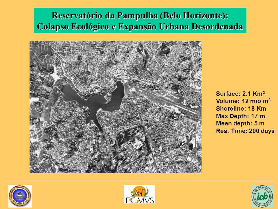 Reservatório da Pampulha (Belo Horizonte): Colapso Ecológico e Expansão Urbana Desordenada Surface: 2.1 Km 2 Volume: 12 mio m 3 Shoreline: 18 Km Max Depth: 17 m Mean depth: 5 m Res.