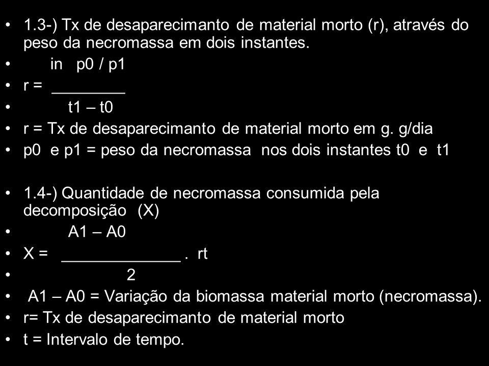 1.3-) Tx de desaparecimanto de material morto (r), através do peso da necromassa em dois instantes. in p0 / p1 r = ________ t1 – t0 r = Tx de desapare