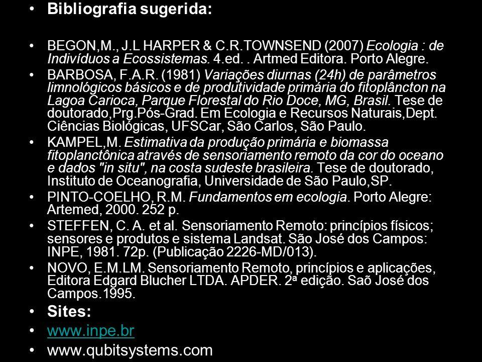 Bibliografia sugerida: BEGON,M., J.L HARPER & C.R.TOWNSEND (2007) Ecologia : de Indivíduos a Ecossistemas. 4.ed.. Artmed Editora. Porto Alegre. BARBOS