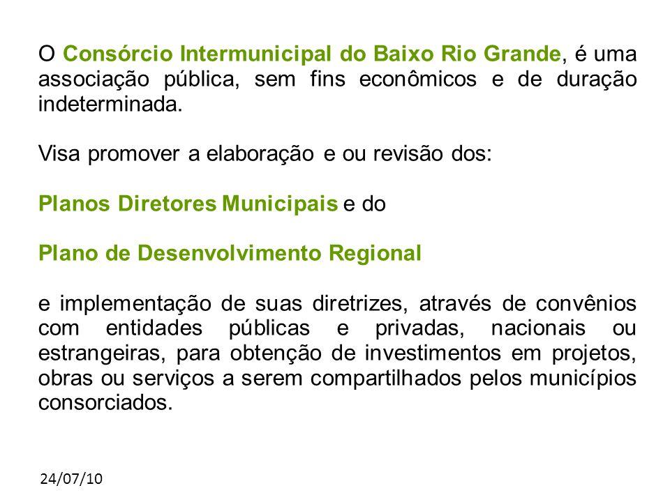 24/07/10 O Consórcio Intermunicipal do Baixo Rio Grande, é uma associação pública, sem fins econômicos e de duração indeterminada. Visa promover a ela