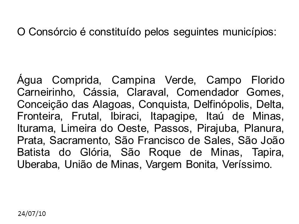 24/07/10 O Consórcio é constituído pelos seguintes municípios: Água Comprida, Campina Verde, Campo Florido Carneirinho, Cássia, Claraval, Comendador G