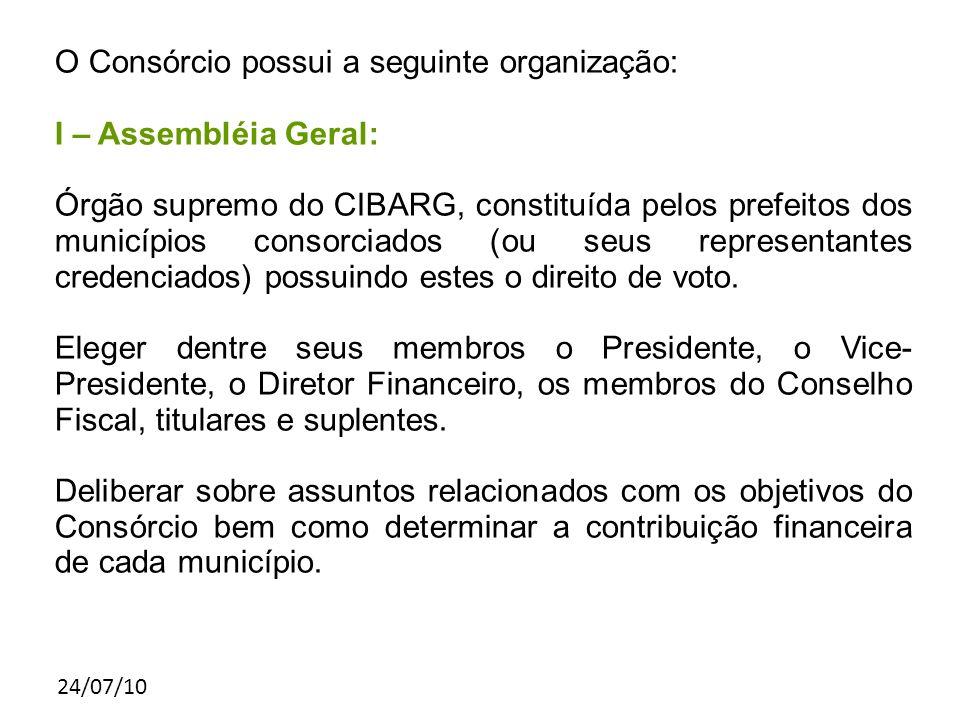 24/07/10 O Consórcio possui a seguinte organização: I – Assembléia Geral: Órgão supremo do CIBARG, constituída pelos prefeitos dos municípios consorciados (ou seus representantes credenciados) possuindo estes o direito de voto.