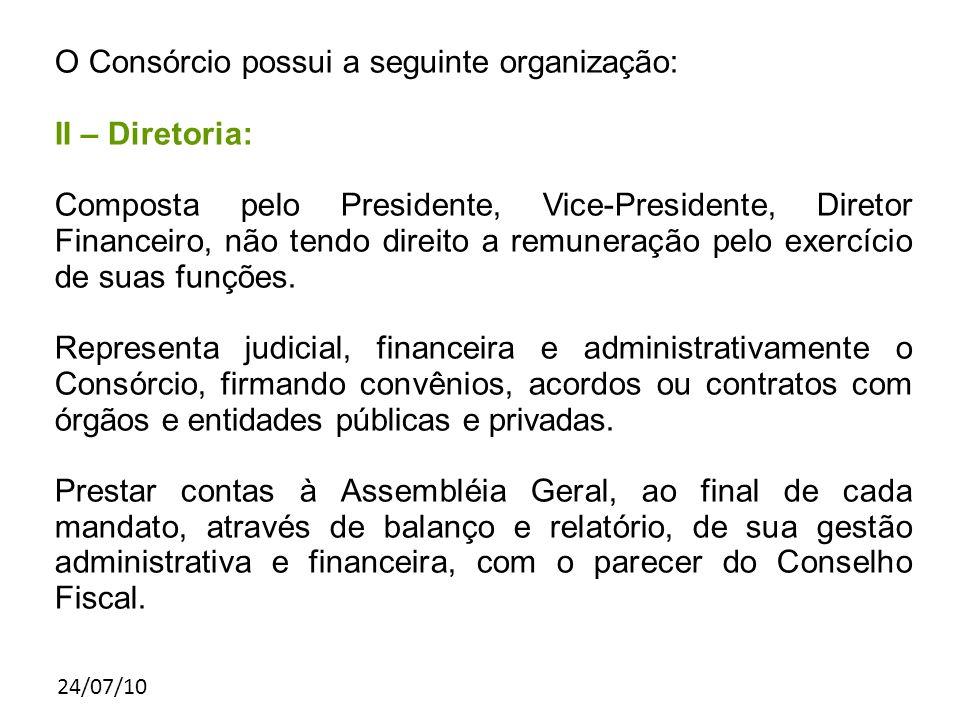 24/07/10 O Consórcio possui a seguinte organização: II – Diretoria: Composta pelo Presidente, Vice-Presidente, Diretor Financeiro, não tendo direito a remuneração pelo exercício de suas funções.
