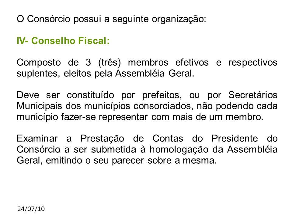 24/07/10 O Consórcio possui a seguinte organização: IV- Conselho Fiscal: Composto de 3 (três) membros efetivos e respectivos suplentes, eleitos pela Assembléia Geral.