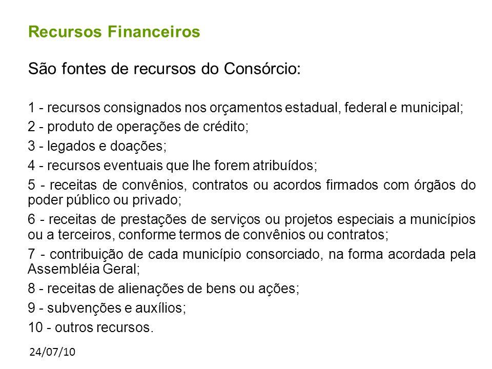 24/07/10 Recursos Financeiros São fontes de recursos do Consórcio: 1 - recursos consignados nos orçamentos estadual, federal e municipal; 2 - produto